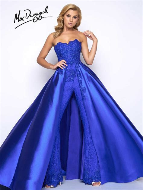 mac duggal prom  jumpsuit  overskirt french novelty