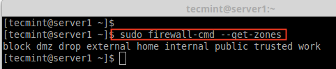 Find Available Firewalld Zones