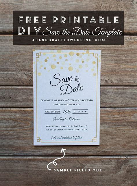 Modern DIY Save the Date FREE Printable     FREE Wedding
