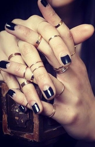 Layered Rings & Black Nail Polish