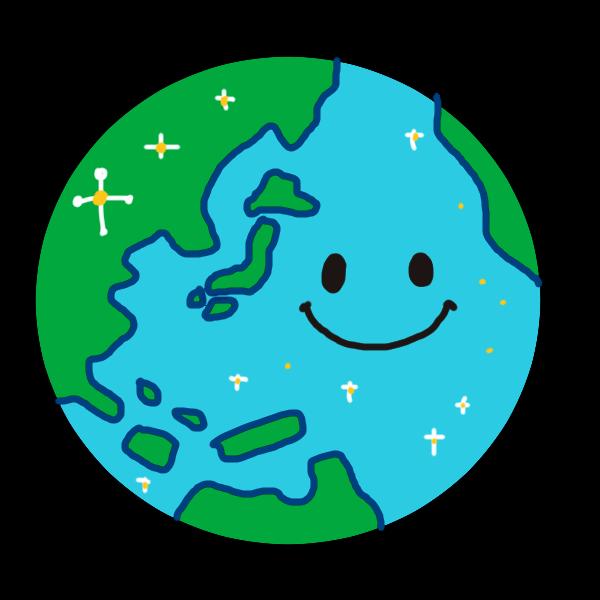 元気な地球のイラスト かわいいフリー素材が無料のイラストレイン