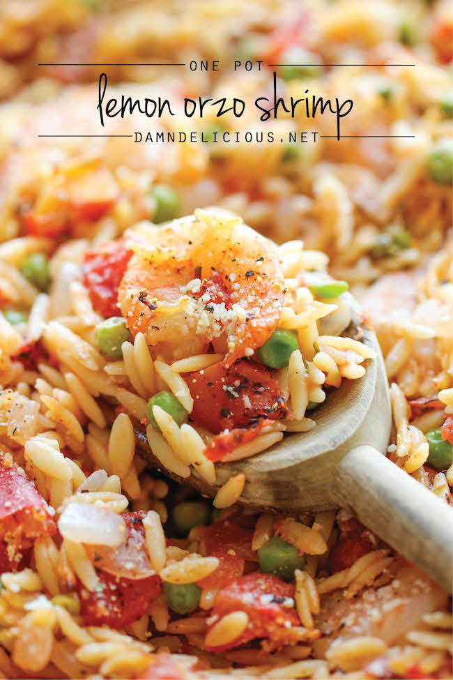 One Pot Lemon Orzo Shrimp - A super easy one pot meal that the whole family will love - even the orzo gets cooked right in the pot!