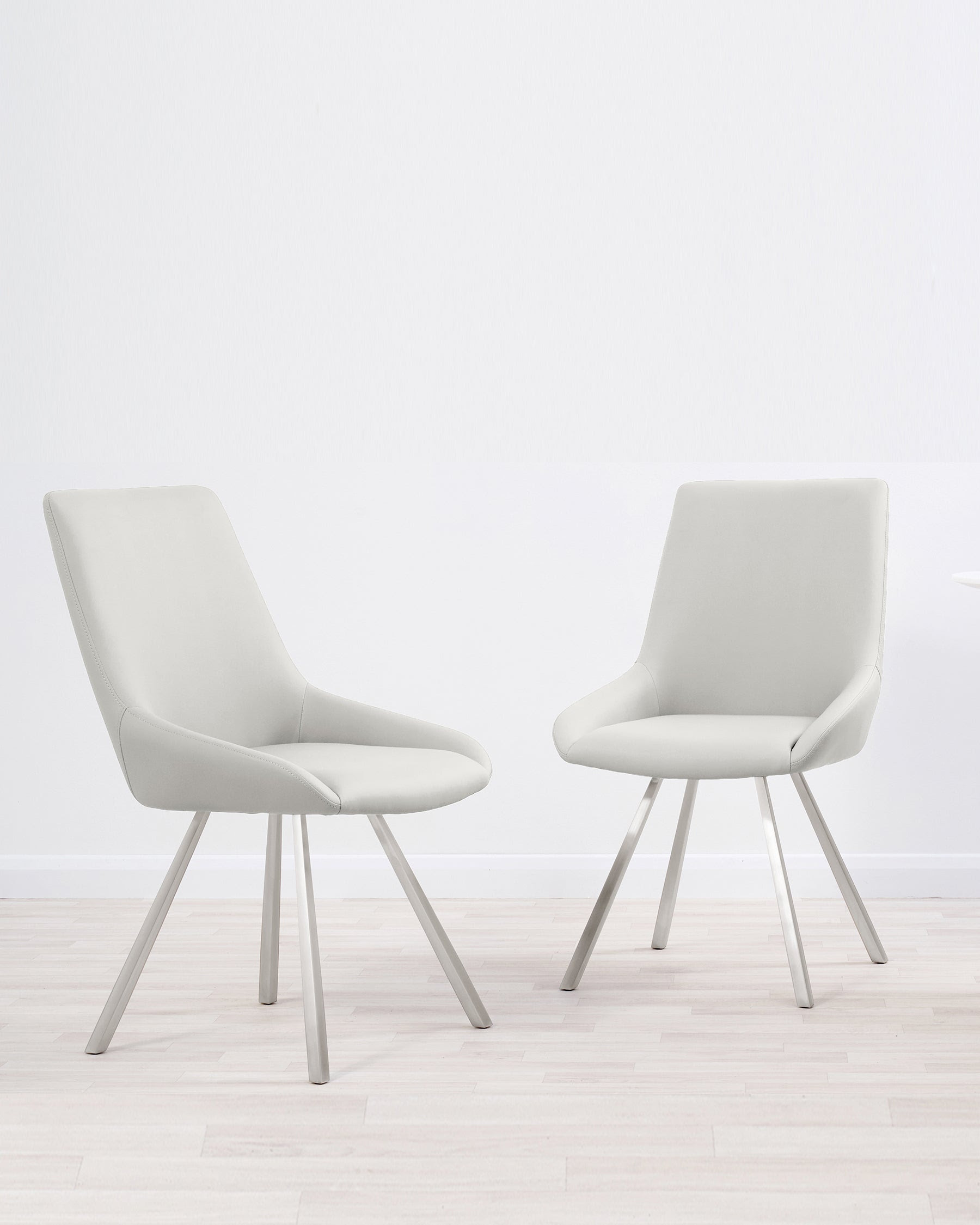 Theo White Faux Leather Dining Chairs Danetti