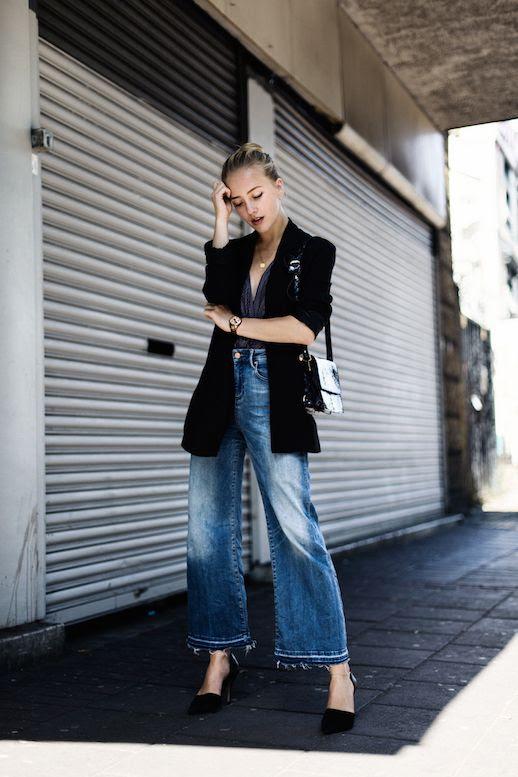 Le Fashion Blog Black Blazer Blouse Cropped Denim Black Heels Via Framboise Fashion