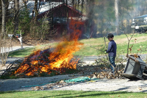 Adam working the bonfire