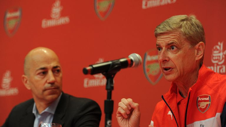 Ivan Gazidis (left) maintains any decision made on Wenger's future will be a mutual one