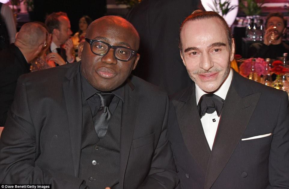 Paixão pela moda: (LR) O novo editor-chefe do British Vogue, Edward Enninful, estava sentado ao lado do designer John Galliano