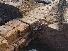 Excavated wall at Southwell
