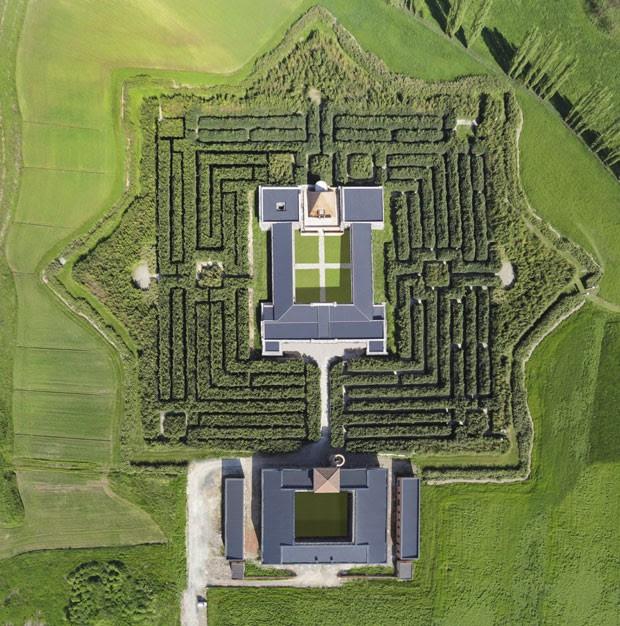 Vista aérea do labirinto de Franco Maria Ricci, na Itália (Foto: Carlo Vannini/Divulgação)