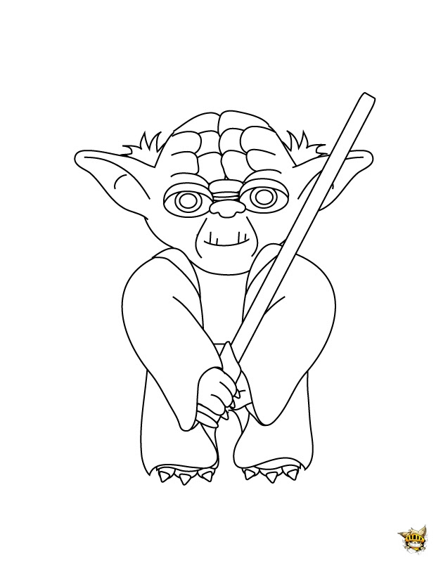 Maitre Yoda Est Un Coloriage De Star Wars