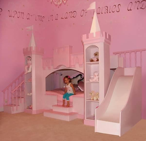 Princess Bedroom Girls Castle Bed Slide & Staircase - kids - new ...