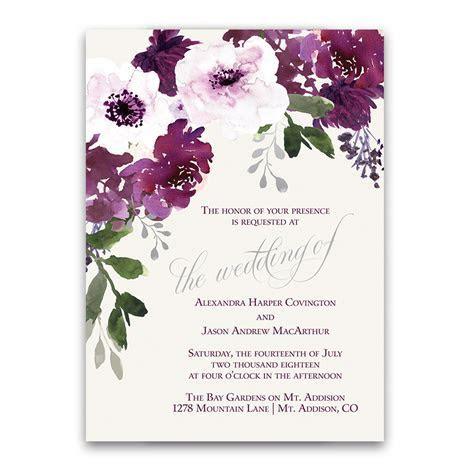 Painted Floral Wedding RSVP Postcard Purple Burgundy