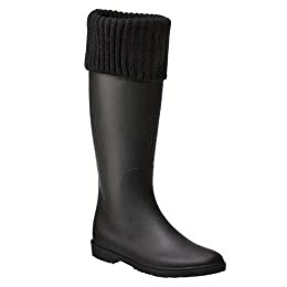 Product Image Women's Matte Solid Knit Cuff Rainboot Black