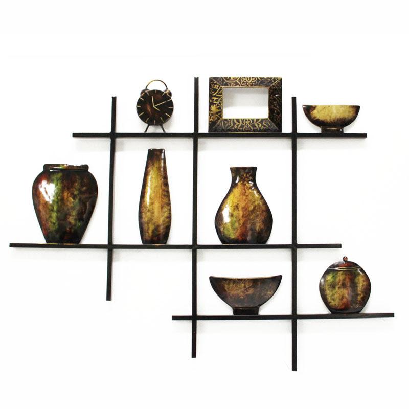 Metal Wall Art - Shelves Bowls And Vase