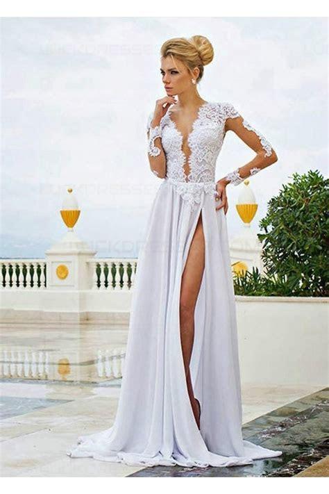 Long Sleeve High Slit Lace Chiffon Wedding Dresses Bridal