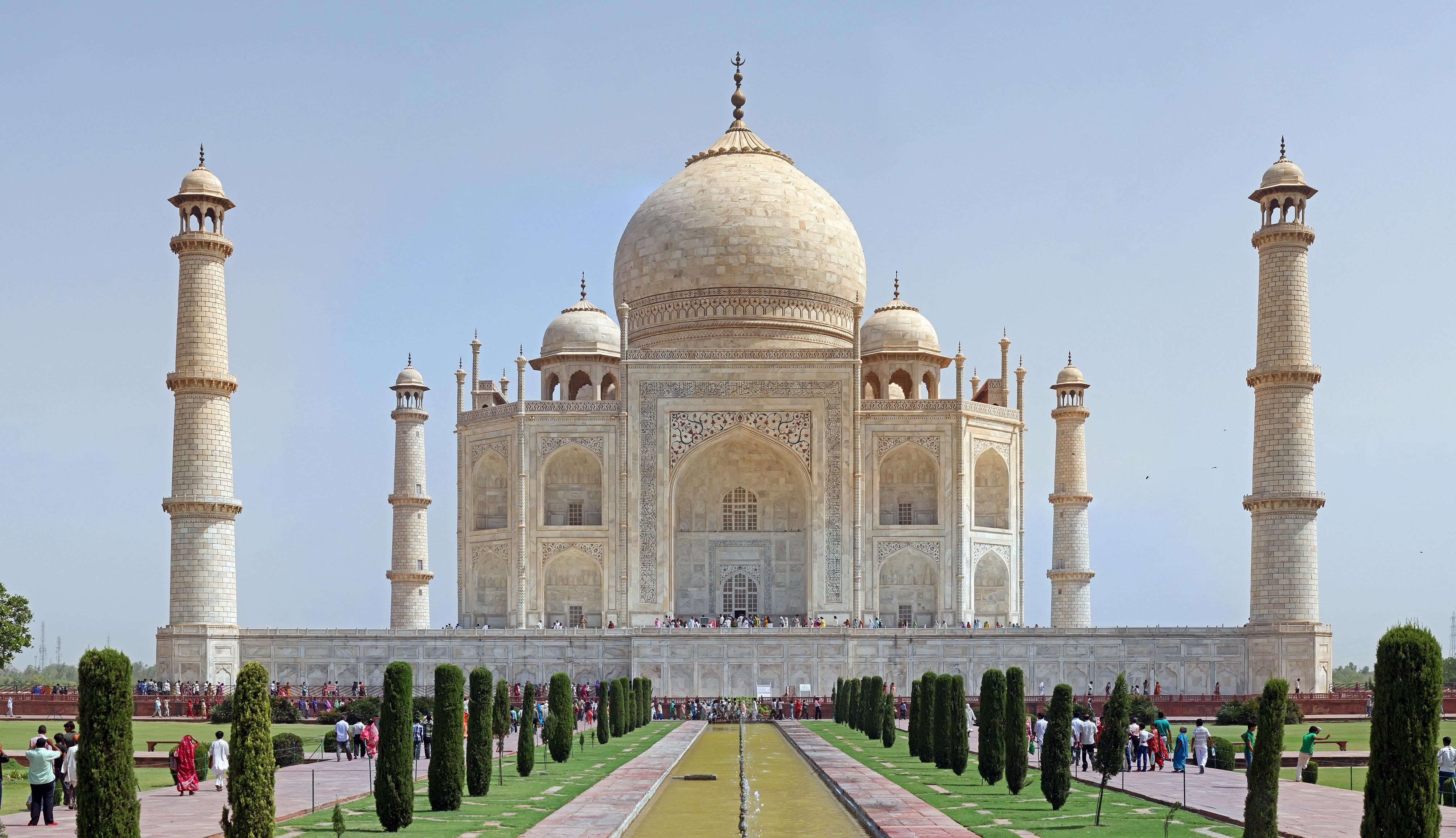 The Taj Mahal in Agra, India built by Shah Jahan.