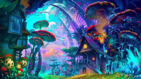 fantasy art drawing nature psychedelic colorful house
