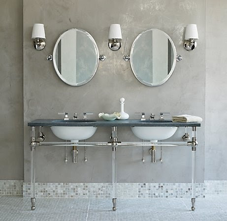 "GRAMERCY DOUBLE GLASS WASHSTAND  (INCLUDES SINK TOP, BASE AND BASIN)  Washstand: 66""W x 24""D x 34½""H  Washstand Base: 61½""W x 21¾""D x 33""H"