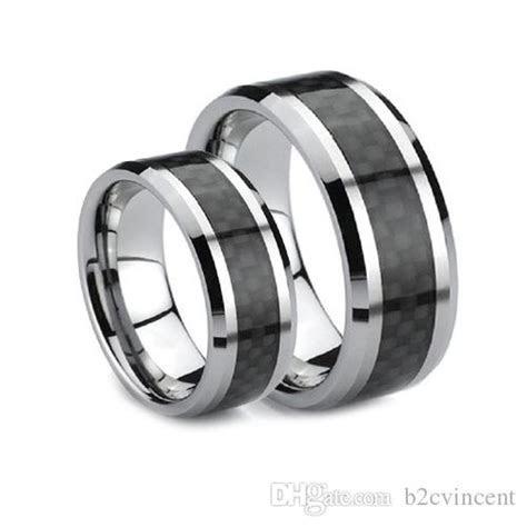 S5q 8mm Tungsten Carbide Carbon Fiber Unisex Wedding Band