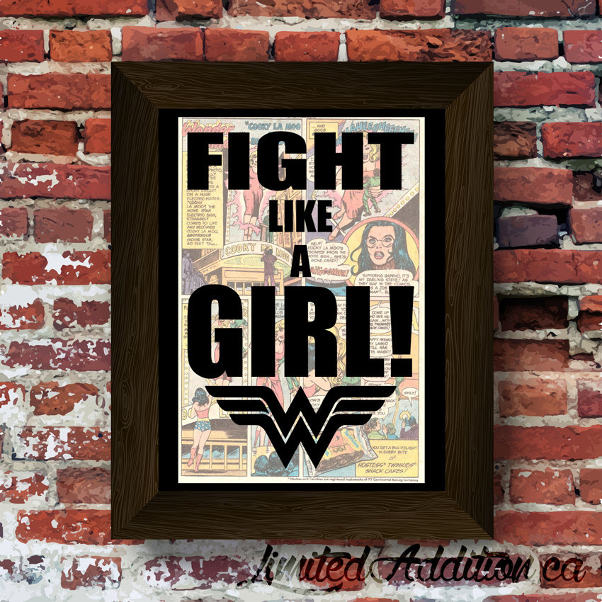 Wonder Woman Inspired Fight Like A Girl Quote With Symbol Upcycled
