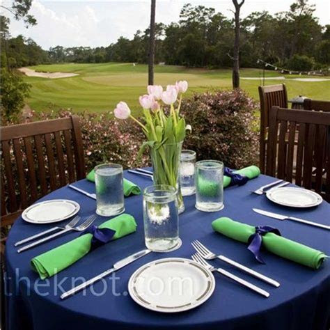 #blue wedding table   Navy tablecloth and green napkins