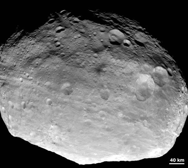 An image of asteroid Vesta that was taken by the Dawn spacecraft on July 24, 2011.
