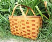 25% SUMMER SALE vintage woven wood picnic basket