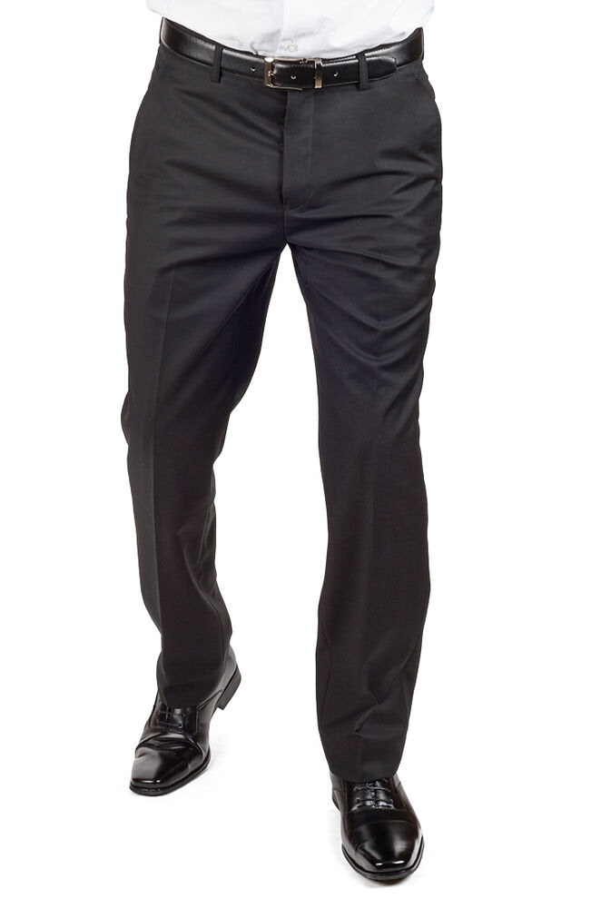 tailored slim fit solid black breathable dress pants