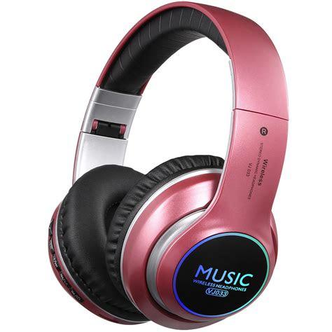 folding wireless bluetooth led stereo headphones