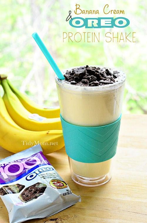Banana Cream & Oreo Protein Shake at TidyMom