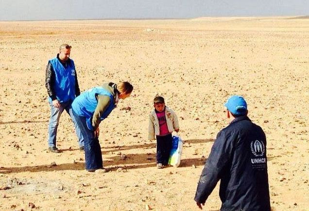 Little boy lost: Marwan, 4, was found by aid workers wandering by himself in the desert close to the border of Jordan and Syria. The little boy was helped by UN workers and later reunited with his mother