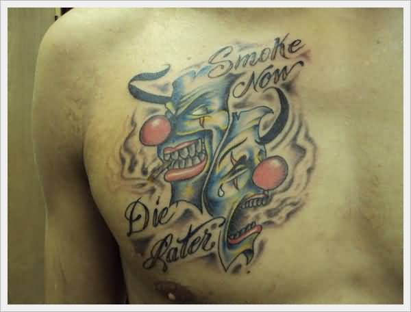 Beautiful Chest Cover Up With Simple 2 Happy And Sad Clown Face