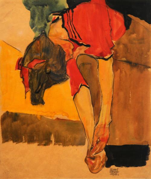 svell:  Egon Schiele, Girl Putting on Shoe (Schuhe anziehendes Mädchen), 1910.