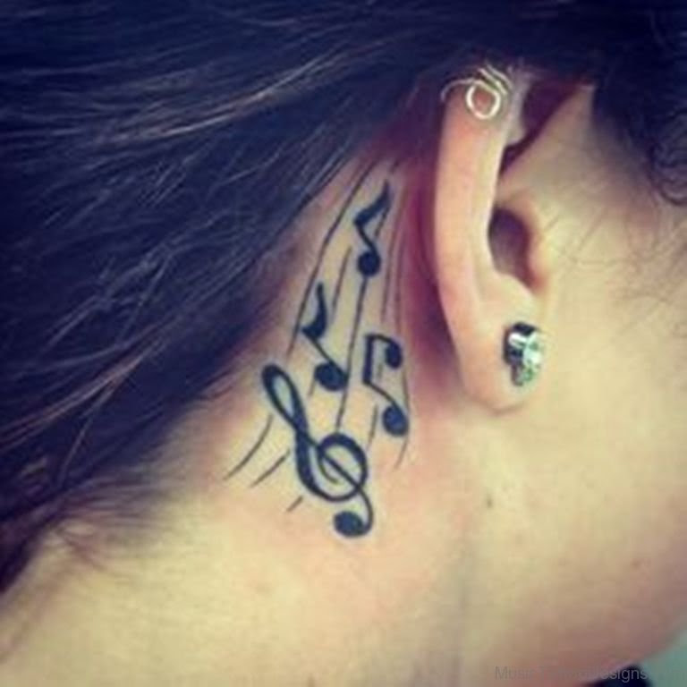 51 Good Looking Music Tattoos For Behind Ear