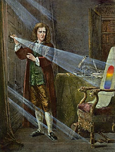 Sir Isaac Newton and prism
