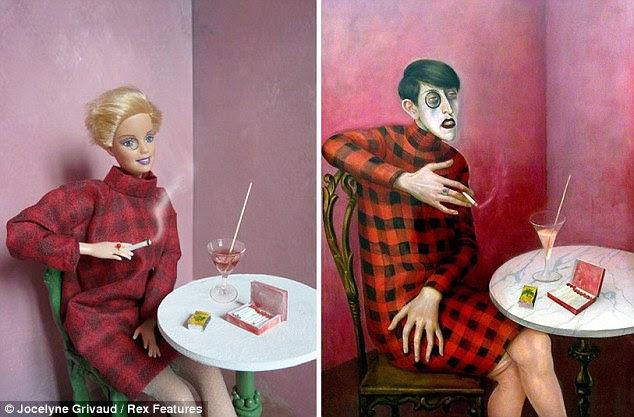 Retrato da Jornalista Sylvia von Harden: Barbie faz de um assunto mais alegre do que o original em uma recriação da pintura de Otto Dix 1926