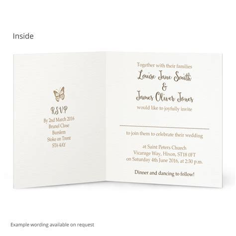 Vintage Butterfly wedding invitation   Beautiful Wishes
