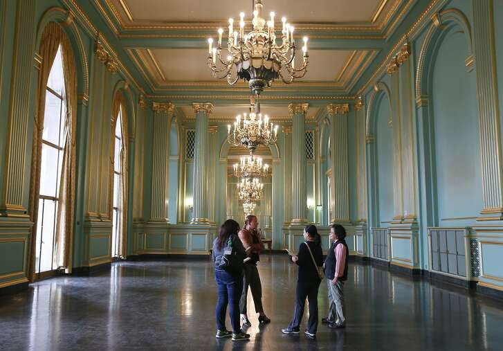 A non-profit group tours the Green Room before their October event at the newly renovated War Memorial Veterans Building in San Francisco, Calif. on Tuesday, Sept. 22, 2015.