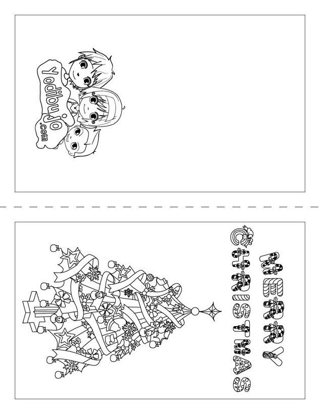 Dibujos Para Colorear Tarjeta Merry Christmas Eshellokidscom