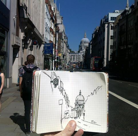 sketching Fleet Street