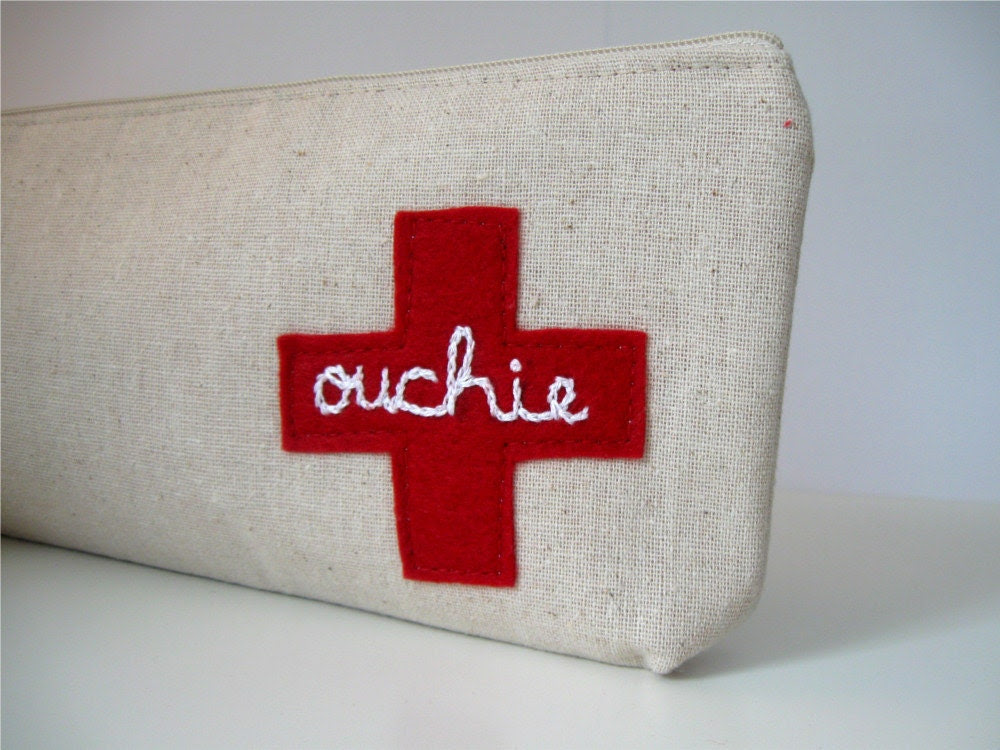 Ouchie Pouch. First Aid Kit Bag. Get Well Gift. Oversized Zip Pouch. Made to Order. - MiloandMolly