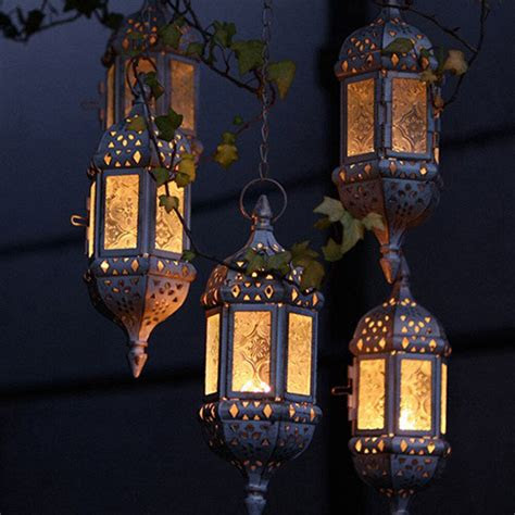 moroccan hanging glass lantern tea light candle style