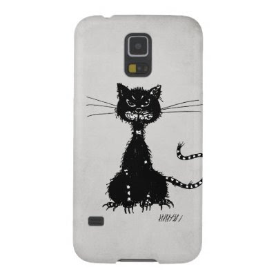 Stone Grey Ragged Evil Black Cat Case For Galaxy S5