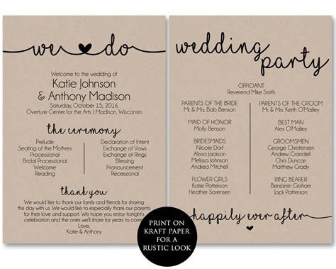 Ceremony Program Template, Printable Wedding by