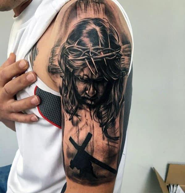 60 Jesus Arm Tattoo Designs For Men Religious Ink Ideas