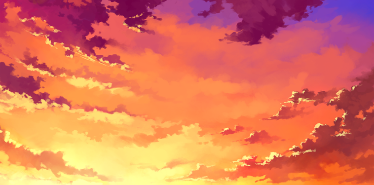 Anime Orange Sky Background
