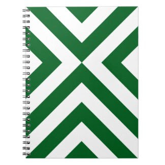 Green and White Chevrons Notebooks