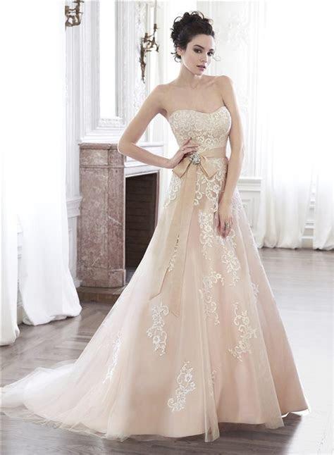 A Line Strapless Champagne Color Lace Applique Wedding