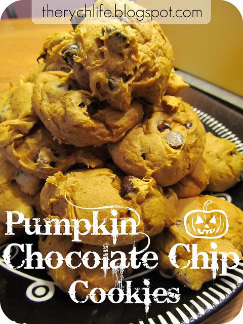 A yummy stack of moist Pumpkin Chocolate Chip Cookies! Happy Fall!