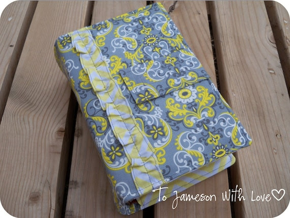 LDS Quad Scripture Cover Yellow and Grey Floral